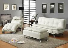 STYLISH WHITE LEATHER LIKE SOFA, CHAISE & OTTOMAN LIVING ROOM FURNITURE SET