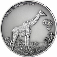 Afrika Serie: Gabun 1000 Francs CFA 2016 Antique Finish Giraffe Silver Ounce