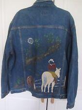 Sunbelt Sportswear hand painted western theme 2 pocket Denim jacket Men's Large