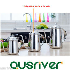New 680ml Stainless Steel Coffee Kettle Tea Pot Large Capacity Fine Mounth Home