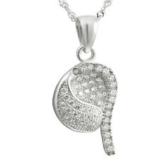 "Sterling Silver Jewelry, White CZ Charm Pendant, 17.5"" Extension Chain"