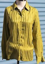 Chaus & Co Womens Silk Green Striped Button Front Blouse size 12