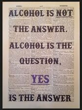 Alcohol Quote Print Vintage Dictionary Page Picture Wall Art Funny Friends Wine
