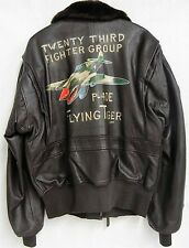 Cooper Leather Bombers Jacket USN Nose Art 23rd Fighter Group P-40E Flying Tiger