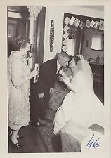 Old Vintage Antique Photograph Bride in Wedding Gown Kissing Dad