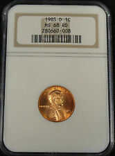 1985 D LINCOLN MEMORIAL CENT! RARE KEY DATE! NGC MS68 RD! LOW POPULATION #0-008