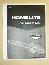 HOMELITE XL - 850 CHAIN SAW PARTS MANUAL PART #24020