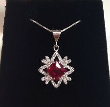 BEAUTIFUL Ruby & White Sapphire Sterling Silver Snowflake Pendant Necklace NWT