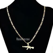 "MEN'S GOLD AK-47 RIFLE GUN PENDANT W 5mm 24"" BRASS FIGARO CHAIN NECKLACE K434G"