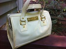 CYBER SALE Tory Burch Matthias Smooth Pale Yellow Patent Satchel Handbag-$495