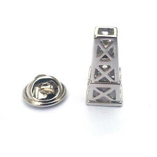 Silver Oil Drilling Platform Lapel Pin Badge Offshore Work Drill Fuel Badges New