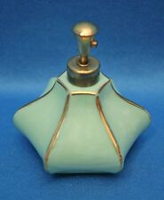 Vtg GREEN, White SLAG GLASS Six sides, gold accent PERFUME ATOMIZER Irice France