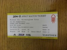 28/12/2014 Ticket: Nottingham Forest v Birmingham City  (folded). Unless previou