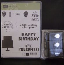 "Stampin Up ""PARTY WISHES"" Clear-Mount Stamp Set + PARTY PUNCH PACK"