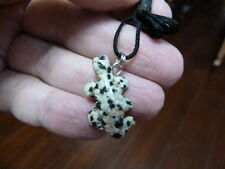 (an-liz-ur-5) Uromastyx lizard WHITE BLACK gemstone carving PENDANT necklace