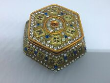 Twos Company Hexagon Shaped Trinket Box Gold with Faux Diamonds and Stones