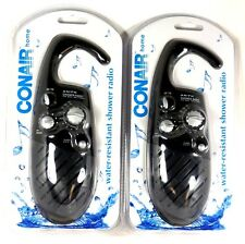 Lot of (2) CONAIR SR10 Shower AM/FM Radio, Black, Water resistant