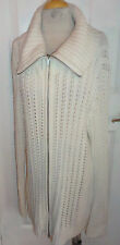 "CHICO'S Open Pattern Knit LONG Zip Front CARDIGAN - Ivory - 50""B / 3"