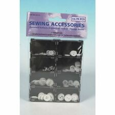 70pc Sewing Button Kit - plastic case - simple daily buttons - white black