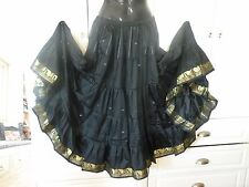 BLACK SKIRT w/ GOLD SARI BORDER, 7 YARDS, BELLY DANCE BOHO GYPSY GOTHIC  INDIA