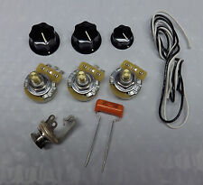 Jazz Bass Guitar Wiring Kit CTS 250K Pots Orange Drop .047uf Cap WITH KNOBS NEW