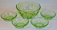 Vintage Dessert Bowl Set in Clear Green Glass