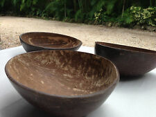 COCONUT CUP BOWL Handcrafted Set of 3 NEW