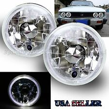 "WHITE LED RIM FOR CHEVY/GMC! 5.75"" H5006 H4001 H5506 CLEAR REFLECTOR HEADLIGHTS"