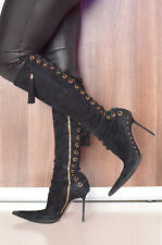 Diagi stiletto high heels pointy toe suede laced boots 39