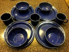 Enamel Tableware Set of 11 Camping Blue Plates Bowls mugs Metal
