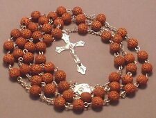Rosary 8mm *CROSS* Beads Silver Crucifix Accent Necklace DARK BROWN Low Stock!