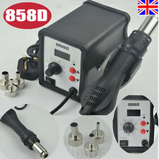 Hot LED 858D SMD Soldering Desoldering Station Air Rework Gun + 3 Nozzles UK