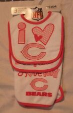 NFL Team Apparel Baby girls Chicago Bears 3 piece Set  2 bibs and a burp cloth
