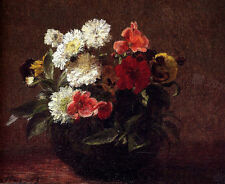 Huge beautiful Oil painting Latour - Still life Flowers In A Clay Pot