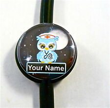 ID STETHOSCOPE NAME TAG,NURSE OWL N BLUE, NIGHT SHIFT,MEDICAL,RN,ER,ICU,CCU,NICU