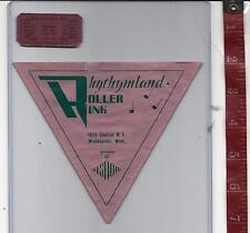 vintage lot roller rink decal Rhythymland Minneapolis Mn. & ticket FREE SHIPPING