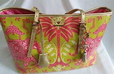 "Excellent condition! SPARTINA 449 ""Resort"" Pink Elephant Tote w/ Charm-Lime/Pink"