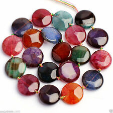 Rare 18mm Round Faceted Multicolor Dragon Veins Agate Onyx Coin Loose Beads 15""