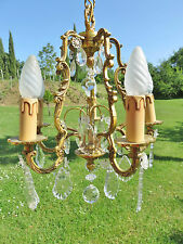 VINTAGE FRENCH ROCOCO CHANDELIER CRYSTAL DROPLETS QUALITY BRONZE LIGHT