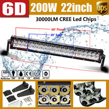 200W 22Inch 6D+ CREE LED Work Light Flood Spot Combo Bar For Lamp UTE Driving