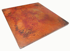 Mexican Square Copper Table Top Hand Hammered 24 Inches Natural Patina