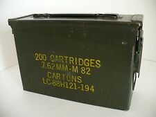 Vintage US Army Military Green Metal M82 Ammo Ammunition Cartridge Case Box