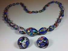 VINTAGE VENETIAN MURANO MILLEFIORI GLASS BEAD LONG NECKLACE & EARINGS