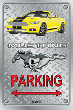 Parking Sign Metal MUSTANG 2015 Shelby GT- 05 YELLOW - Checkerplate Look