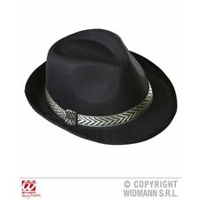 Black Panama Fedora Hat Al Capone Gangster Style Fancy Dress Prop