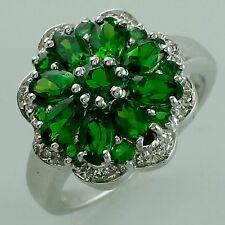 Chrome Diopside 2.86 Ct. Flower Shape Ring 925 Silver Wedding Fashion Jewelry