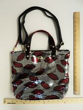 Women's Juicy Couture Silver & Red Sequin LIPS  Shoulder Purse Bag PRICE DROP