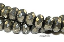 6X4MM PALAZZO IRON PYRITE GEMSTONE FACETED RONDELLE 6X4MM LOOSE BEADS 7""