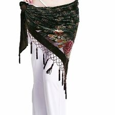 ZLTdream Womens Belly Dance Trangular Hip Scarf Grade Velvet Coffee