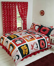 SINGLE BED DUVET COVER SET BETTY BOOP LIPS PICTURE PERFECT ORANGE PINK GIRLS